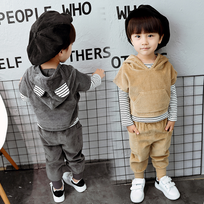 spring autumn children clothing kids clothes boys & girls sets vest  + t shirt + pants 3 piece child set baby clothes 2016 new children s clothing boys long sleeved t shirt large child bottoming shirt spring striped shirt tide