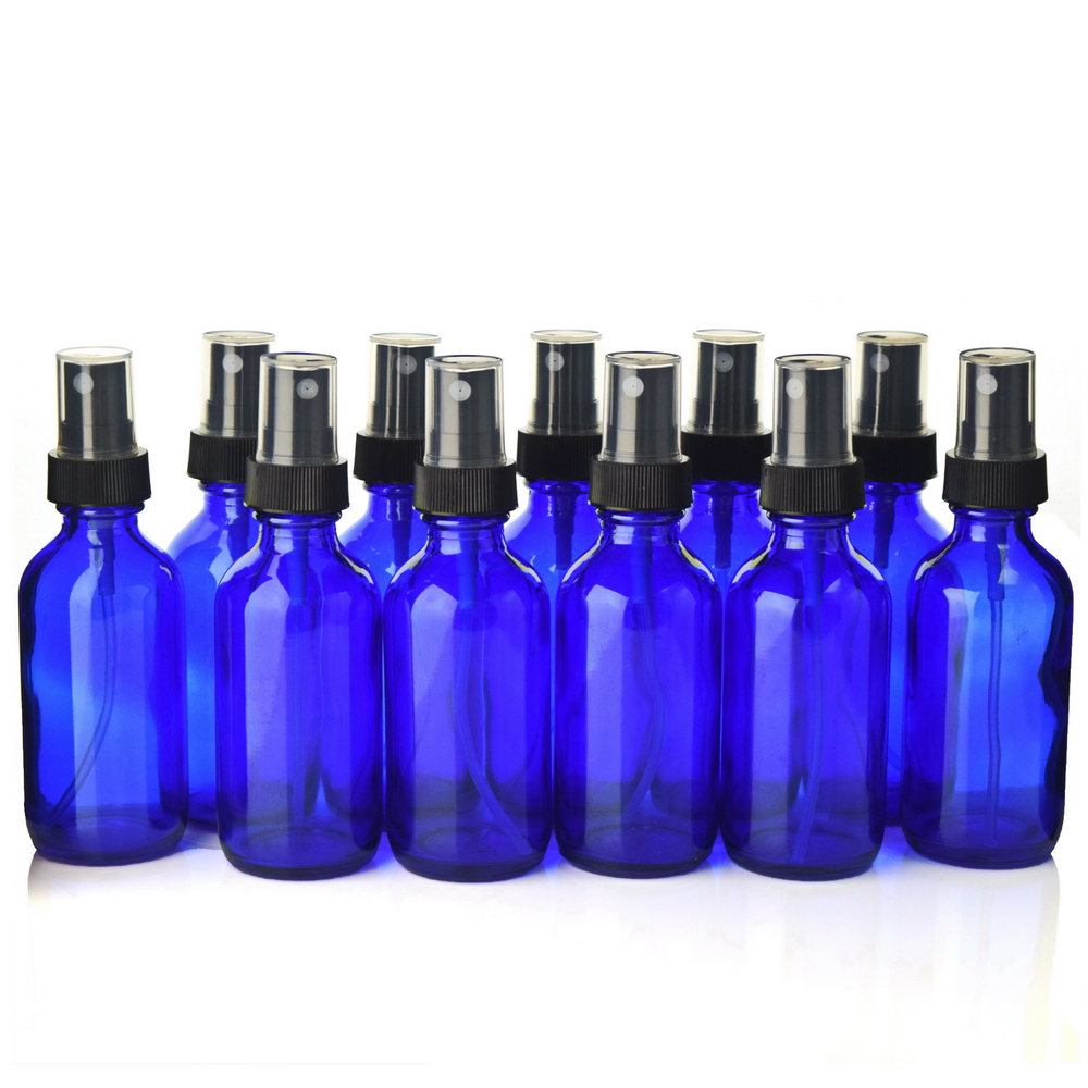 12 X 2 Oz High Quality 60ml Cobalt Blue Glass Spray Bottle with Black Fine Mist Sprayer for essential oils aromatherapy cleaning 6pcs 1oz 30ml amber glass spray bottle w black fine mist sprayer refillable essential oil bottles empty cosmetic containers