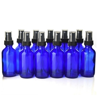 12pcs 2 Oz 60ml Cobalt Blue Glass Bottles With Black Fine Mist Spray For Essential Oils