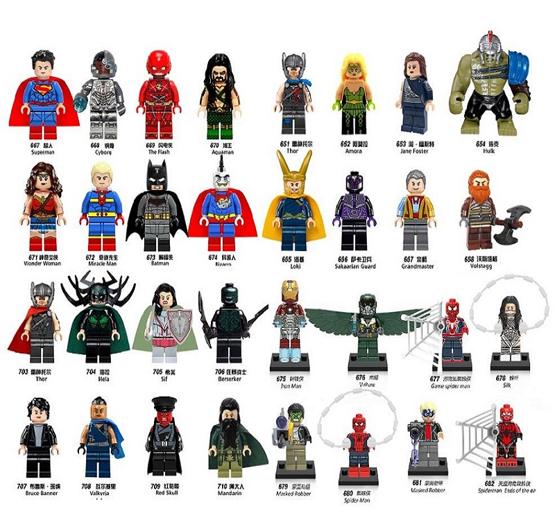 Single Sale Spiderman Jane Foster Grandmaster Loki Thor Bruce Banner Red Skull Superman Building Blocks Super Heroes Kids Toys foster 7311240