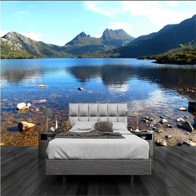 Beibehang 3d Wallpaper Custom Mural Non Woven Wall Stickers Lake Mountain  Stream Background Bedroom Wall