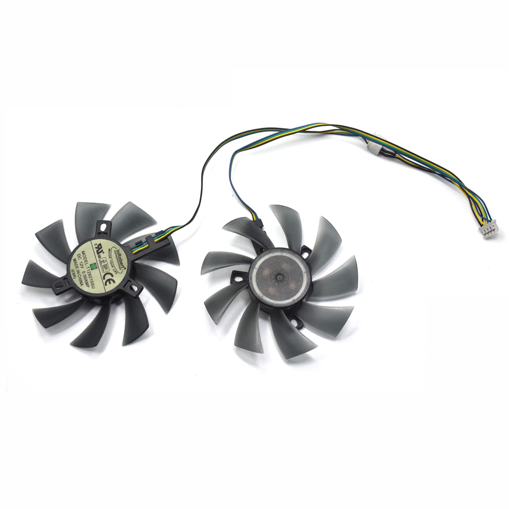 2pcs/lot 85mm T129215SU 4Pin Two Ball-Bearing For Gigabyte GTX 580 gaming 4gb MSI RX 460 480 580 Video Card Cooler Fan image