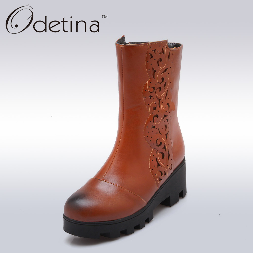 Odetina Vintage Chunky Platform Boots Large Size 2016 Autumn Winter Boots Heels Mid Calf Boots Cut Out Booties Botas Mujer Larga double buckle cross straps mid calf boots