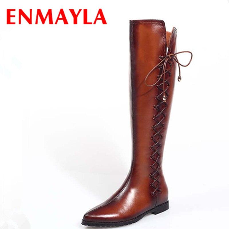 ENMAYLA Cool Chevalier Bottes Chaussures femme Genou Haute Bottes pour Femmes Gladiateur Épais Med Talons Plate-Forme Chaussures femmes bottes Nouveau