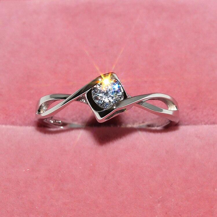 4ca06e9e31ae Brillante AAA Zircon anillos de boda para las mujeres de la plata esterlina  925 cristales Anillos