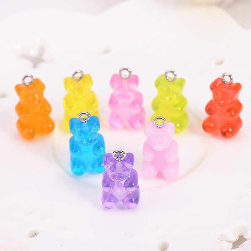 32pcs resin gummy bear candy necklace charms very cute keychain pendant  necklace pendant for DIY decoration