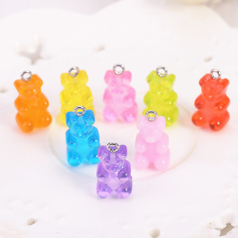 32pcs Bear Charms Resin Cabochons Glitter Gummy Candy Transparent Color Necklace Keychain Pendant DIY Making Accessories(China)