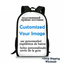 Free ship Custom DIY offer Dropship wholesale Print Backpack for Girls and Boys Gift Custom your Image School Fashion bag Sumka