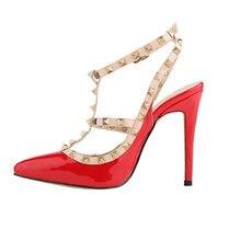 Marke Mode Niet Spitze Zehe Gladiator Sandalen Frauen High Heels Pu Frauen Schuhe Mit Absätzen Sexy Hochzeit Schuhe Frau 9 cm
