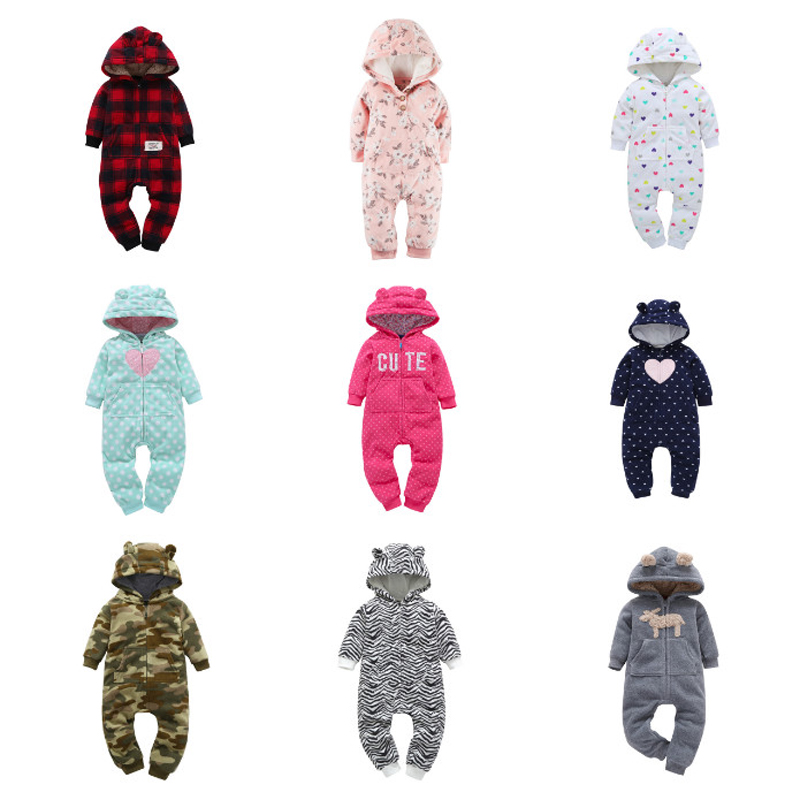 Newborn Baby   Rompers   2019 Winter Warm Zipper Clothes Knitted Hoodied Animal Overall jumusuits Infant Baby boy girl clothing