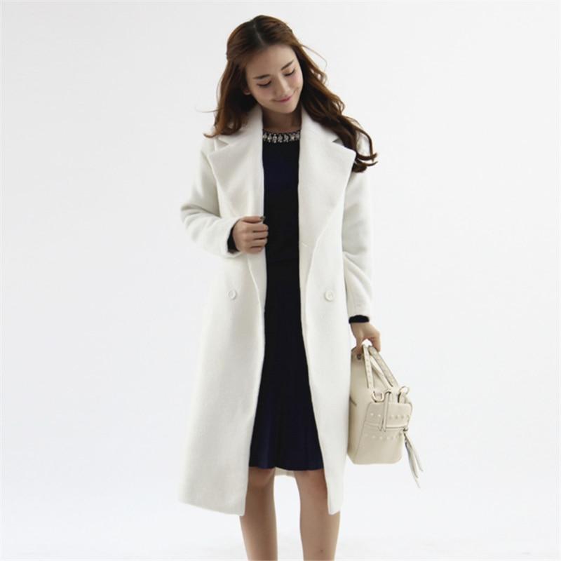 b8cf2fbe77 2018 Winter New Fashion Female Elegant Long Coat with Sash Light purple  Beige Long Sleeve Loose