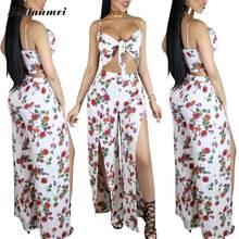 06b54c8c1e9 Women Beach Backless Dress Floral Print Boho Maxi Dress V neck Sexy Side  slit Elegant Dresses halter High Quality Vintage
