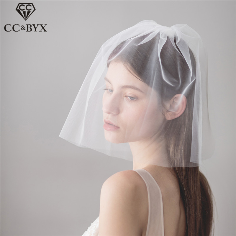 CC Engagement Jewelry Short Lace Hair Veil Bridal Accessories For Women Party Wedding Headdress Fashion 100% Handmade DIY V612