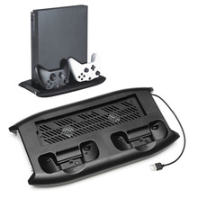 For Xbox One X Vertical Stand With 4 USB HUB Video Game Console Cooling Gamepad Charging Bracket Holder Multi-Functional
