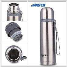 Haers 500 ml edelstahl thermos 12-24 stunden doppelschicht isoliert vakuum wasserflasche hb-500f
