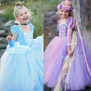 d868c54c0 Cenicienta vestido de las niñas de traje chico s Vestidos para niñas Elsa  Vestidos chico nieve blanca princesa vestido de Rapunzel Aurora