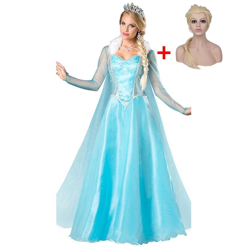 Adult Elsa Princess Anime Fantasy Princess Queen Anna Cosplay Clothes Female Kigurumi Anime Halloween Costume With Wig