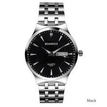 Homens de aço relógio de quartzo negócio calendário relógios 2017 boamigo prata marca presente relógios de pulso 30 m waterproof relogio masculino