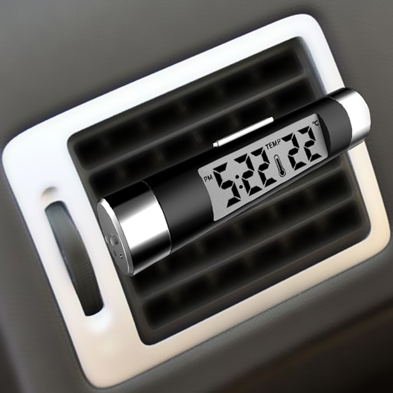 Auto Digitale Uhr LCD Thermometer Air Vent Outlet Für Ford Focus 2 Fiesta Mondeo Kuga <font><b>Citroen</b></font> C4 C5 <font><b>C3</b></font> Skoda octavia Schnelle Fabia image