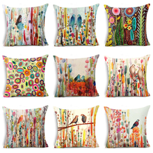 New Bird Oil Painting Polyester Cushion Cover Plant Flower 45X45cm Pillow Case Home Decorative Pillows For Sofa Car