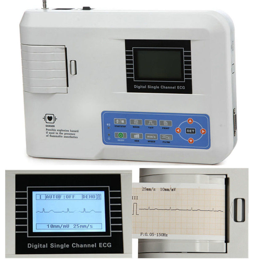 CONTEC FDA CE ECG100G pojedynczy kanał EKG EKG EKG maszyna z papier do drukarki, oprogramowanie PC