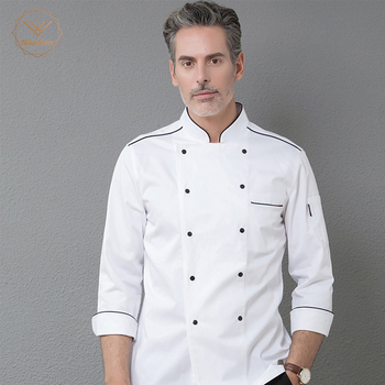 9e6ec55400b 2019 nueva llegada hombre chef restaurante uniforme de manga larga camarera uniforme  chef camisa blanca doble chaqueta de chef