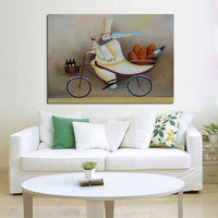 Handpainted New Design Decorative Art Oil Paintings on Canvas Art Pictures Happy Cook Wall Stickers for Home Decor