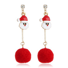2019 Earings Fashion Jewelry With Europe And The Sell Like Hot Cakes Series Drip Santa Claus Long Hair Bulb Tassel Earrings недорого