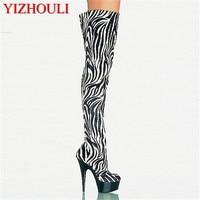 15cm Fashionable Zebra PU Platforms Womens Boots 6 Inch High Heel Shoes Sexy Thigh High Boots