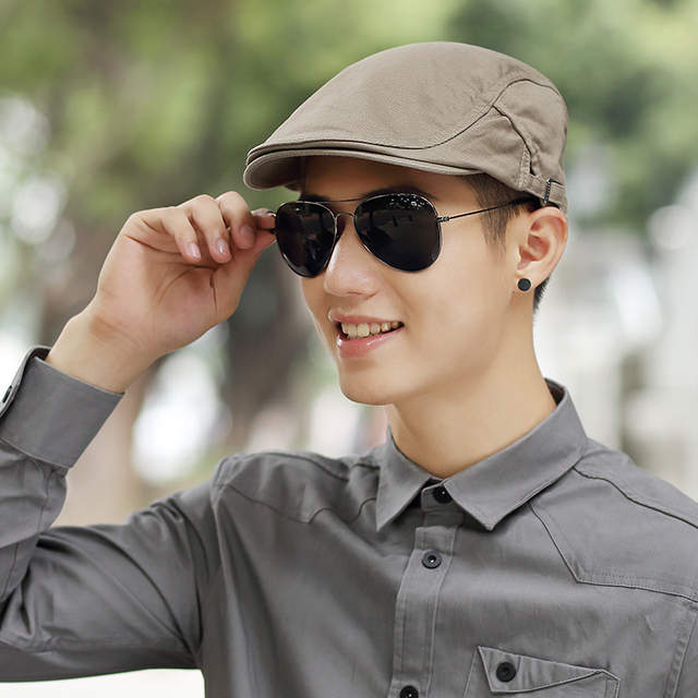 placeholder Male Summer Solid Newsboy Caps Men Casual Ivy Hat Pure Cotton  Flat Peaked Cap Women Plain 5d0cb228792a