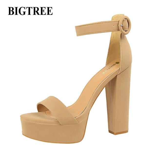 d97405d9d832a2 BIGTREE New European Fashion Women Platform Sandals Suede Thick Heeled Pumps  Buckle Ladies Sexy Fashion High Heels Sandal 1550-1