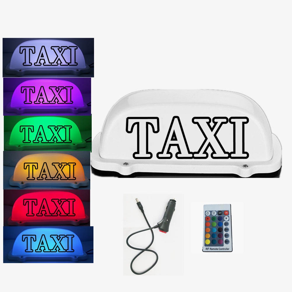7 Colors Change RGB Taxi Top Light car LED Roof Sign Taxi light 12V with Magnetic