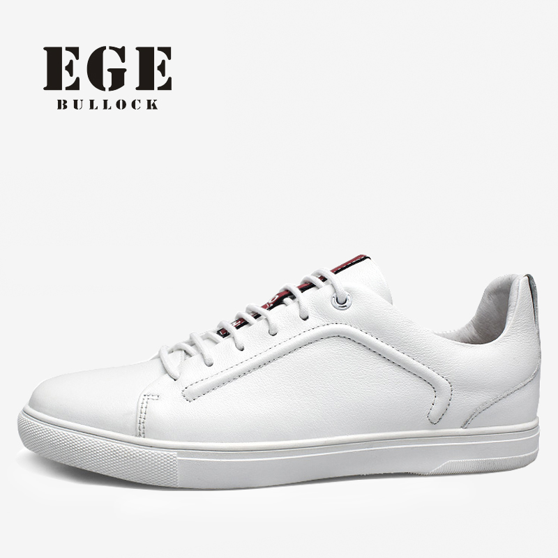 Genuine Leather Men Causal Shoes Top Quality Lace-up Spring New Male Flats Leisure White Soft Leather Shoes for Men