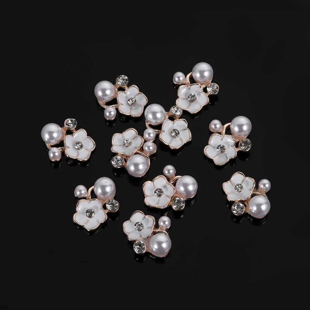 10pcs/set Flower Rhinestones Pearl Buttons Wedding Decoration Garment Diy  Decorative Alloy Diamante Crystal Bow Accessories