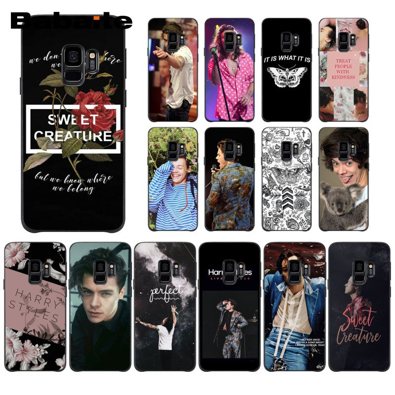 Babaite One Direction Tattoos <font><b>Harry</b></font> <font><b>Styles</b></font> <font><b>Phone</b></font> <font><b>Case</b></font> for <font><b>Samsung</b></font> Galaxy S8 S7 edge S10 Plus S10E S10lite S9plus <font><b>S5</b></font> M10 image