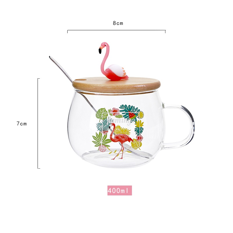 400ml Cute Pink Flamingo Glass Coffee Mug with Lid and Spoon Coffee Milk Tea Water Cups Creative Gifts in Mugs from Home Garden