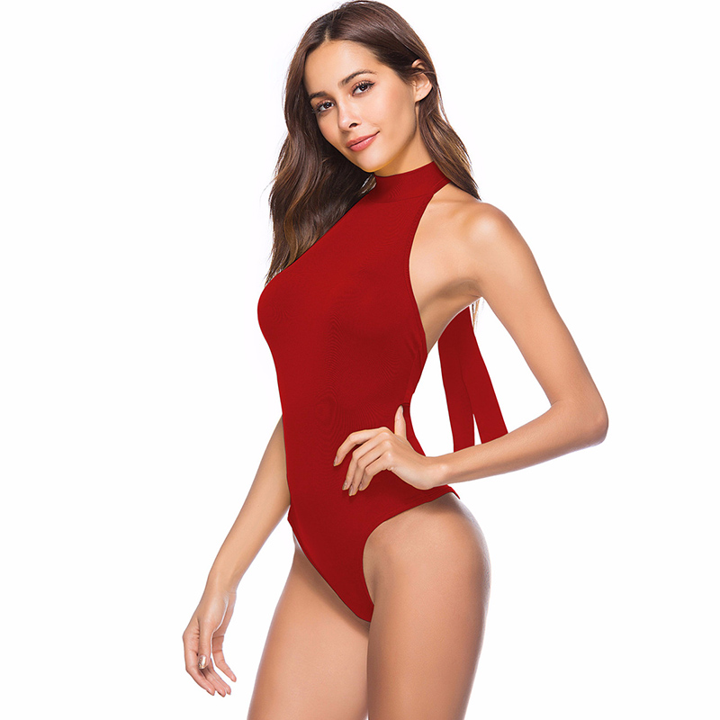White Sexy Cotton Bodysuit Women Backless 2018 Summer Jumpsuits Skinny One Piece Solid Color High Strech Spandex Body Suit