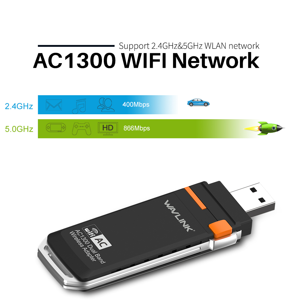 Wavlink AC1300 USB 3.0 Mini WIFI Dongle Adapter 2.4G/5G Dual Band Wireless Network Card wifi supports Windows XP/Vista/7/8/10 PC