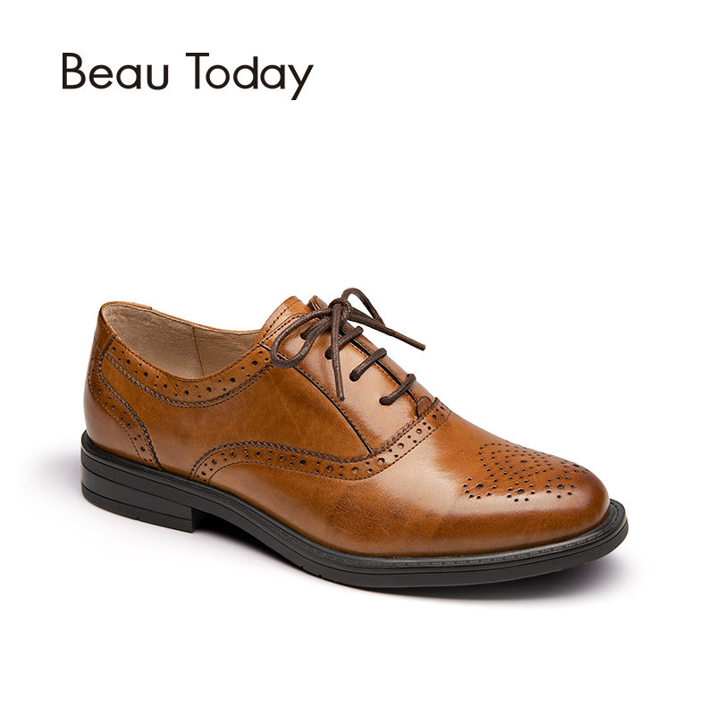 BeauToday Oxford Shoes Women Fashion Lace-Up Round Toe Brogue Style Waxing Genuine Cow Leather Ladies Flats 21085 33 45 size women genuine leather oxford shoes fashion round toe lace up flat ladies england style brogue oxfords for women d005