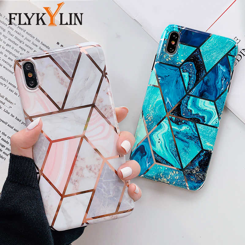 FLYKYLIN Case For Huawei P30 Pro P20 Lite Mate 20 Nova 3e 4e Cover Pink Blue Marble Splice Plating Phone Cases IMD Silicon Coque