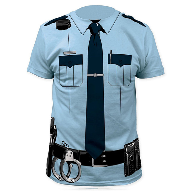 Для мужчин полиция 3D футболка врач Gentleman Adult веселую вечеринку COP пират punpkin пилот Sailor Санта Клаус Хэллоуин Косплэй Топ