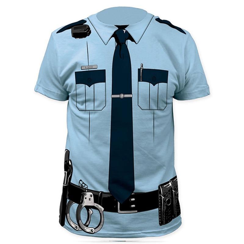 Männer Pilot Polizei 3D T Hemd Arzt Gentleman Erwachsene Lustige Party Cop Punpkin Pirate Sailor Santa Claus Karneval Cosplay Kleidung