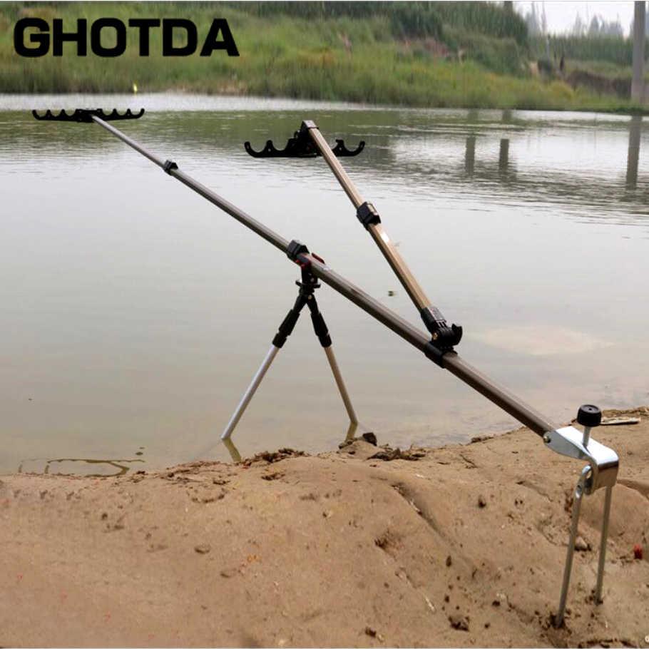 Porte-Canne À pêche En Aluminium Réglable 1.5M 1.7M 2.1M Tige de Support pour mât Support avec Soutien Bipied