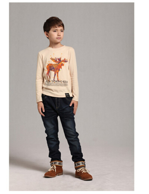 Retail New 2016 Spring Kids Boys Clothes T shirts Cartoon Deer Pattern Long-Sleeved T-shirt Fashion Casual Baby Girls Clothing