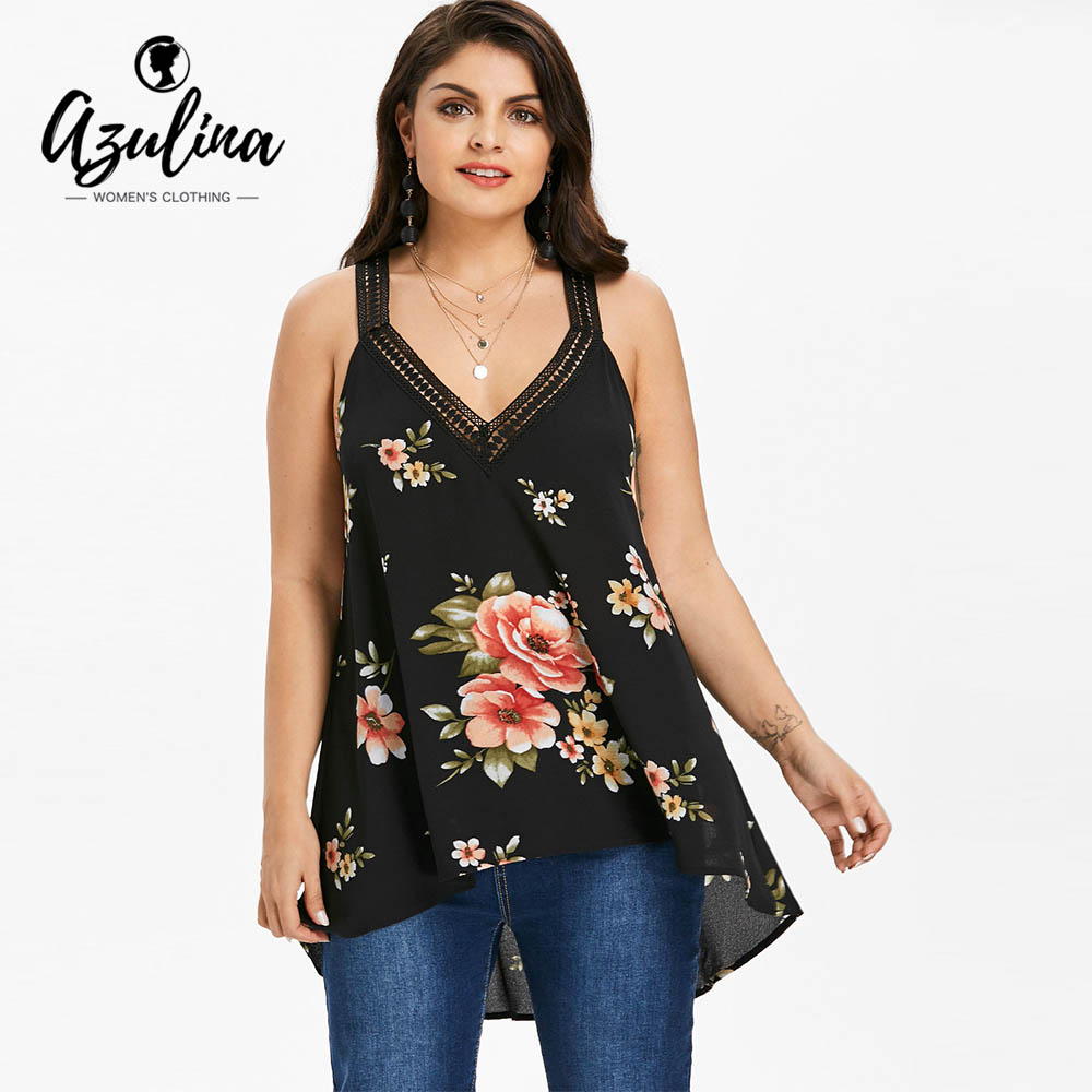 AZULINA Plus Size Floral V Neck High Low Tank Top Women Tanks Casual Sleeveless Lace Tops Tees Summer Big Size WomenS Clothing