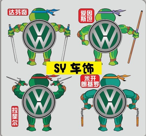 Clearance sale reflective teenage mutant ninja turtles car end labeling apply for volkswagen and so on n 121 on aliexpress com alibaba group