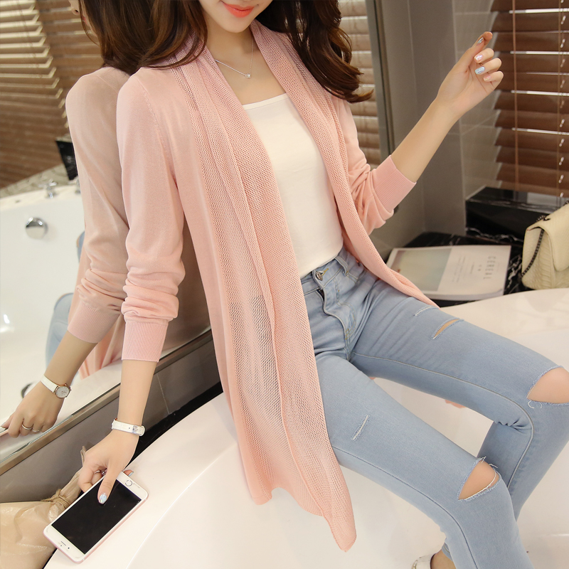 OHCLOTHING The new spring coat loose thin in the long hollow knit cardigan sweater coat blouse female shawl