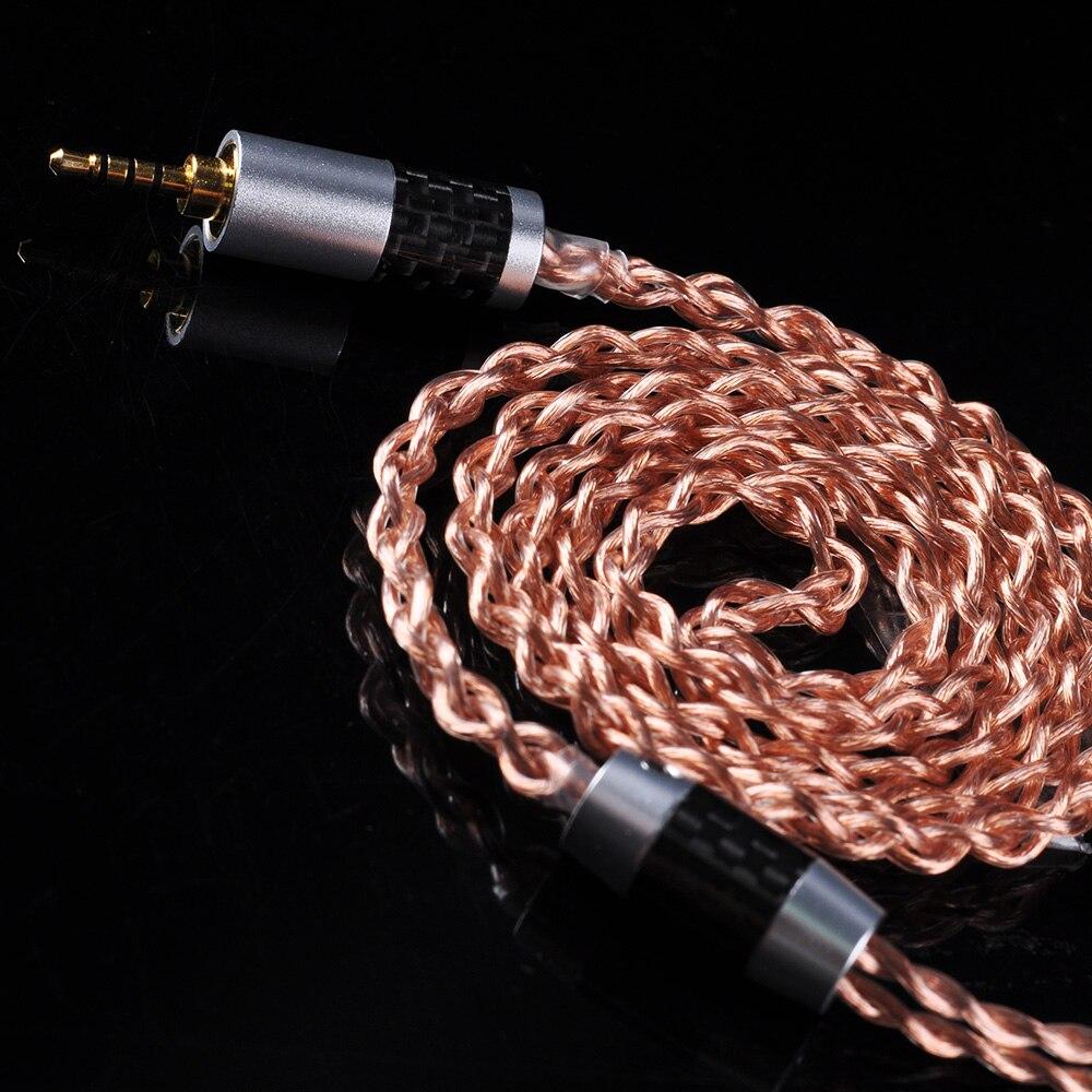 AK OFHC 24 6N AWG Cabo de Cobre de Alta Pureza 2.5/3.5/4.4mm Equilibrada Cabo do Fone de ouvido Com MMCX conector de Taiwan Para HQ8 ESTANHO T2