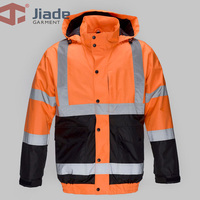 Jiade Adult High Visibility Jacket Winter Warm Jacket Men's Work Reflective Winter Bomber Jacket
