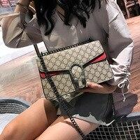 Высококачественная роскошная женская сумка 2019 новинка ретро PU замок женская сумка на одно плечо модная печать цепочка скошенная сумка